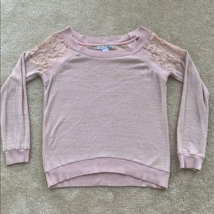 Lace Shoulder, Pink & Gold Sweater